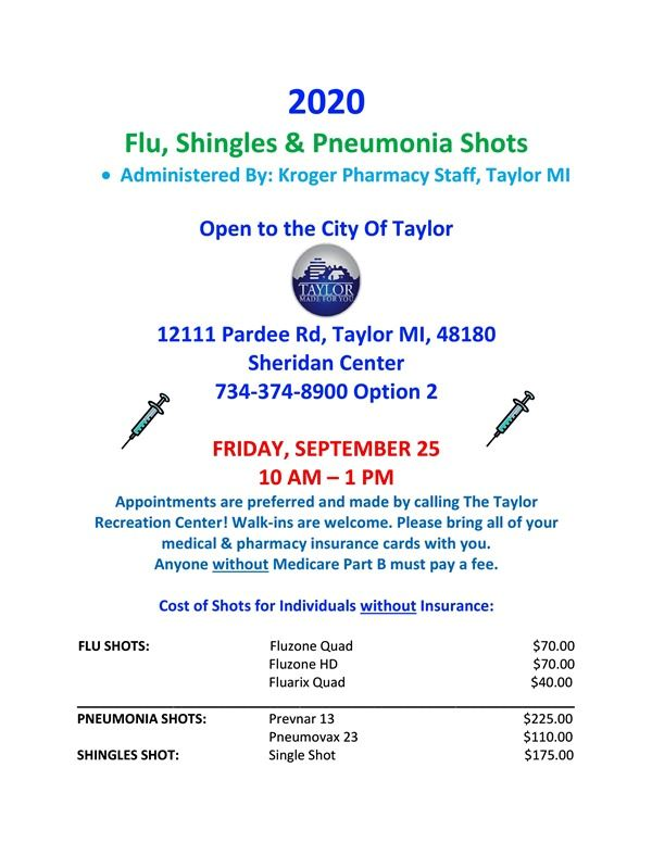 2020 Taylor Flu Shot Flyer SEPT 2020