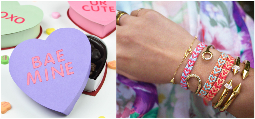 Decorative heart shaped boxes and friendship bracelets