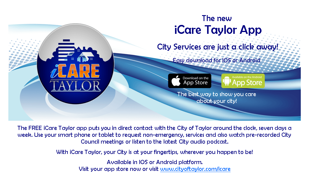 iCare Taylor App for City Services