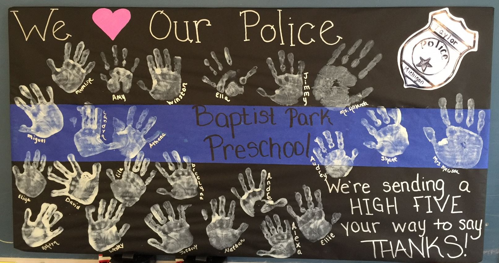 Baptist Park School Hand Print Collage