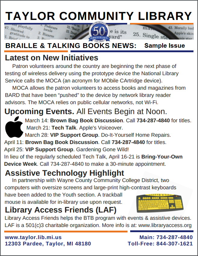 Taylor Community Library Braille and Talking Books News